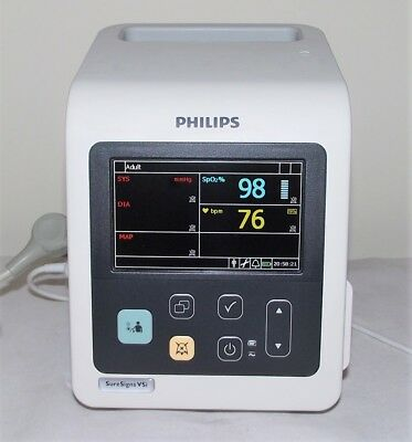 PHILIPS VSi SURE SIGNS COLOUR PATIENT MONITOR & ALL LEADS SpO2 NIBP 2014 MP30 50