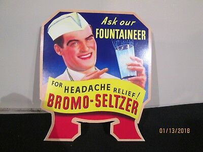 Hard To Find Bromo-Seltzer Advertising Pharmacy Bottle Topper Sign 1933 - Nice!
