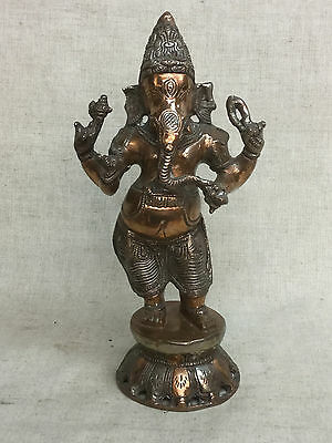 "Vtg Antique 11"" Large Solid Brass Hindu Ganish Idol Religious Statue Figurine"