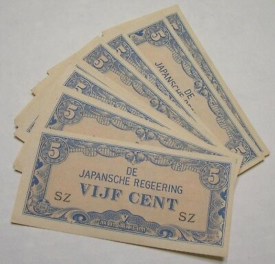 WW2 Japanese Occupation Notes Indonesia 5 VIJF Cent Lot Japansche Regeering