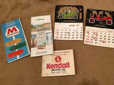 Vintage Oil Company Maps &Kendall Oil Stickers + Auto Calendars