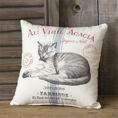New French Country Shabby Chic Cat French Script Accent Pillow 14""