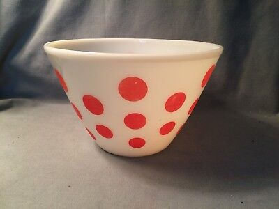 Vtg Fire King Oven Ware Milk Glass RED Polka Dot Large 9 1/2 Mixing Nesting Bowl