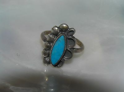 Old Pawn Silver Half Beads with Narrow Pinched Oval Very Blue Turquoise Stone