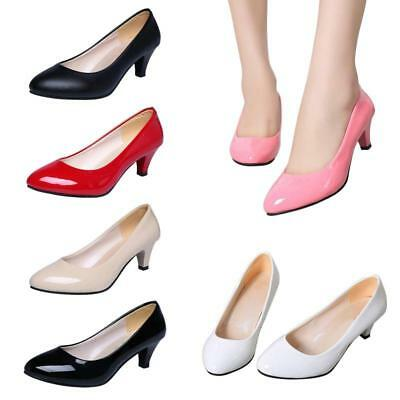 Ladies Women Low Heel Mid Kitten Heels Office Work Pointed Toe Pumps Shoes JA