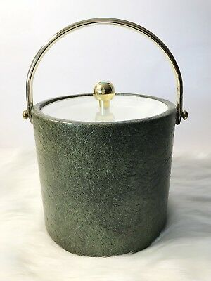 Vtg Gold Tone & Green Embossed Faux Leather Insulated Ice Bucket Barware