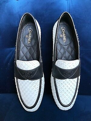 e1407ca3bb4f 2017 Chanel White Braided Black Leather Cc Logo Slip Loafers Moccasin Shoes  36.5