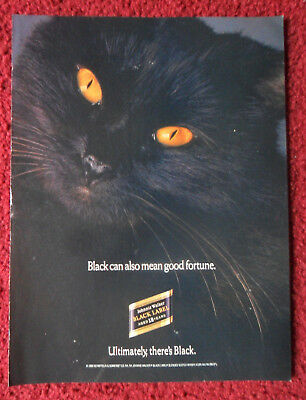 1990 Print Ad Johnnie Walker Black Label Scotch Whisky ~ Black Cat Good Fortune