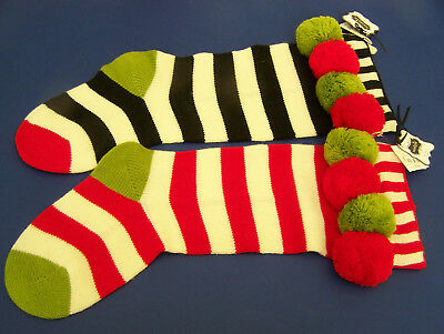 2 NWT CHILDRENS CHRISTMAS STOCKINGS By Mudpie Boutique KNIT STRIPES w/ Pom Poms