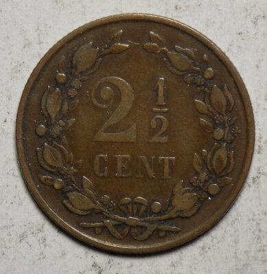 Netherlands 1877 2 1/2 Cent Coin