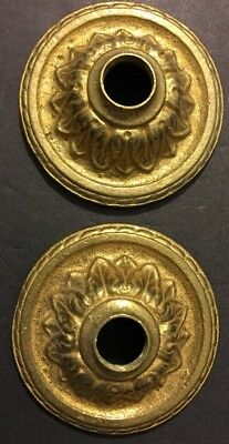 Antique Pair Cast Brass Gilded Sunflower Victorian Raised Knob Holders Ornate