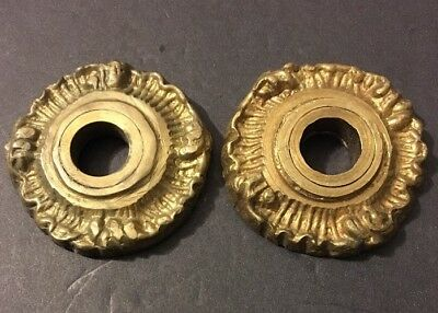 Antique Pair Cast Brass Rococo Victorian Eastlake Knob Holders Ornate Italy