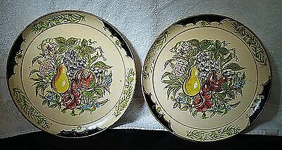 2 Vintage ISCO 1950s Japan Hand-Painted Fruit Pattern Paper Mache Plates Pair