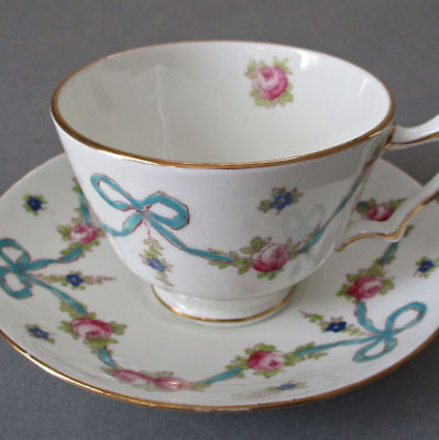 Vintage CROWN STAFFORDSHIRE Cup + Saucer Pink ROSE Swags + Flowing Blue BOWS