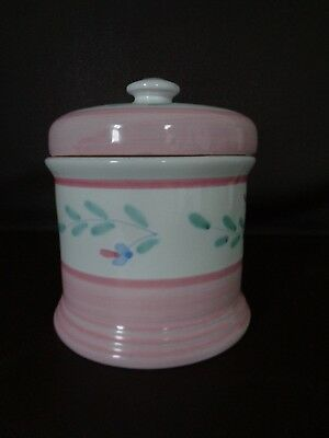 Caleca Hand Painted Pink Garland Canister Made in Italy (Cat.#6C001)