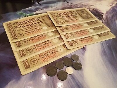 NAZI GERMANY OLD BANKNOTES / COINS - 16pc LOT - Vintage WWII Money Collection!!!