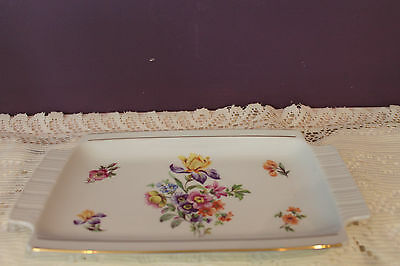 German Jewelry Tray - Made In Democratic Republic Of Germany - Iris Floral