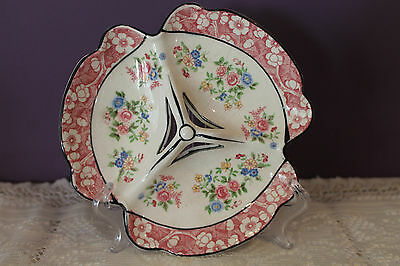 Lovely Vintage 3-Sectional Divided Dish Made In Japan Floral