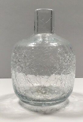 "Blenko Art Glass Clear Crackle 6424 Joel Myers Candle Holder Vase 5"" Tall"