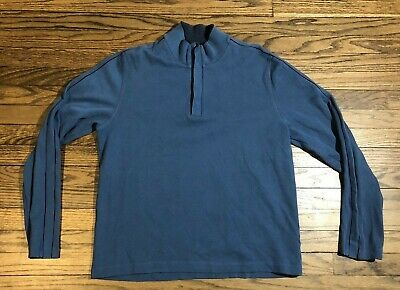 fb69afef7 Hugo Boss Mens Half Button Front Pullover Sweater Blue International Size XL