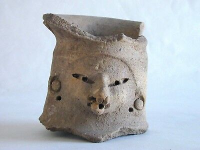 Pre-Columbian Pottery Fragment Relic Head Face Figure Of A Man Or Spirit