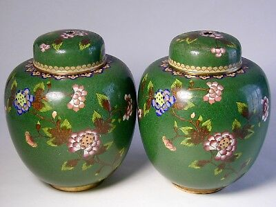 Pair Of Fine Qing Dynasty 19Th - 20Th Century Cloisonne Ginger Jars And Covers