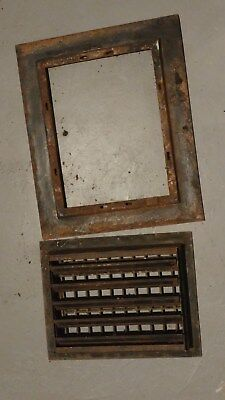 "Vintage Antique Cast Iron Heat Register Grate 11"" X 14"" with frame"