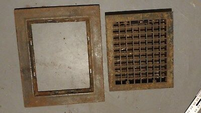 Vintage antique floor heat register grate 12x14 with frame