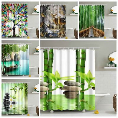 New Fabric Waterproof Bathroom Shower Curtain Panel Sheer Decor With Hooks Set
