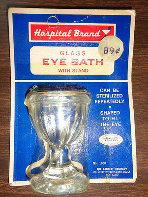 Hospital Brand Glass Eye Bath With Stand: Collectible: NOS