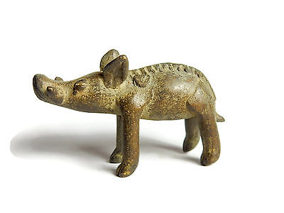 Rare African Antique Cast Bronze Akan Ashanti Gold Weight - a wild boar 2