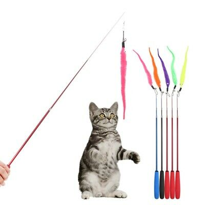 5PCS Colorful Pet Kitten Cat Toy Teaser Replacement Bell Play Stick Refill Plush