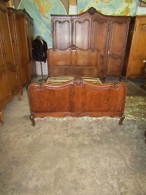 French oak double bed ,beautiful quality vintage carved Louis XV,inc base.