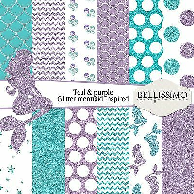Teal, Lavender Glitter Mermaid Inspired papers, Scrapbook paper, Custom Designed