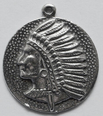 PEWTER CHARM #158 NATIVE AMERICAN INDIAN CHIEF circle (20mm x 22mm)