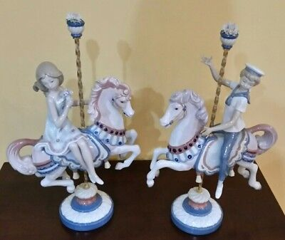 ** PRICED TO SELL ** Lladro Boy and Girl on Carousel Horse Set ** FREE SHIPPING!