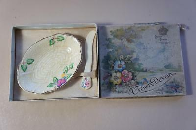 Vintage Crown Devon butter knife and dish with box