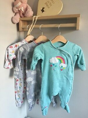 Baby Girls Next Cloud and rainbow Sleepsuits Set 0-3 Months Up To 3 Months