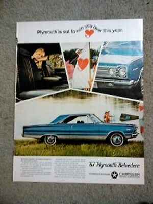 Vintage-1967 PLYMOUTH BELVEDERE print ad- Chrysler - excellent cond.