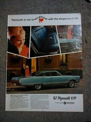 Vintage-1967 PLYMOUTH VIP print ad by Chrysler-Look magazine-excellent cond.