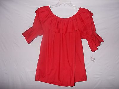 """New Malco Modes Red Peasant Stye Square Dance Blouse  44""""  Bust - Size: Large"""