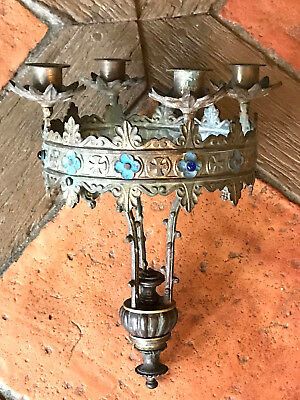 Antique French Sanctuary Lamp. Bronze Enamel And Ruby & Sapphire Cabochon Stones