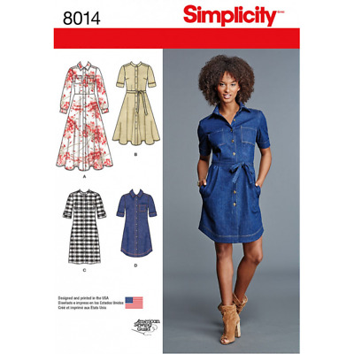 Misses' Shirt Dress Vintage Style Flared Straight Simplicity Sewing Pattern 8014