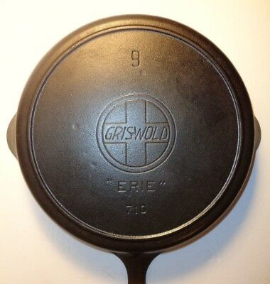 "GRISWOLD #9 CAST IRON SKILLET w/LARGE SLANT LOGO, ""ERIE"", HEAT RING PN:710 c1910"