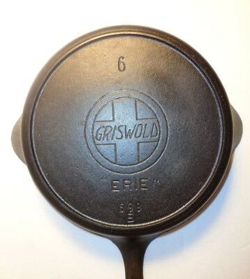 "GRISWOLD #6 CAST IRON SKILLET w/LARGE SLANT LOGO, ""ERIE"", HEAT RING PN:699B 1910"