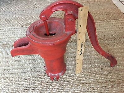 Red Antique Hand Well Large Water Pitcher Pump, Patina! Vintage