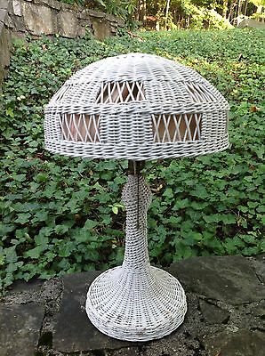 1910s Antique HEYWOOD WAKEFIELD Woven Wicker TABLE LAMP Arts & Crafts Period