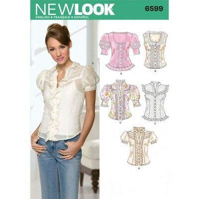 NEW LOOK SEWING Pattern Misses; Tops Top Blouses Blouse Size 8 - 18 ...