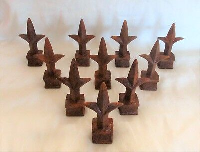 "Lot of 10 – Rusty Cast Iron 4"" Fleur-De-Lis Spear Finials * 3/4"" SQ. Opening"
