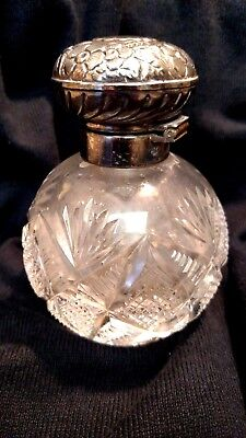 Beautiful Sterling Silver & Cut Crystal Perfume Hallmarked,